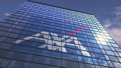 Logo of AXA on a media facade with reflecting cloudy sky, editorial animation Footage