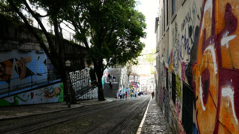 Gloria Funicular in the city center of Lisbon, National Monument in Portugal and GIF