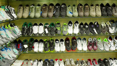 shoes stylish sneakers hipster cool footwear store mall sale business warehouse shelf colored racks Live Action