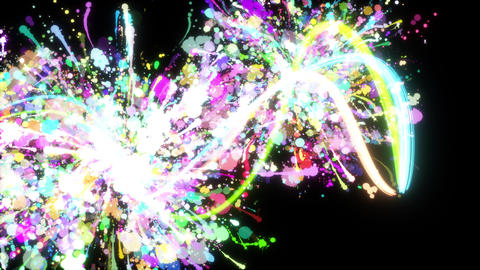 Glowing paint strokes black background CG動画