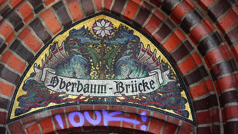 Architectural fragment of the Oberbaum Bridge in Berlin. 4K Footage