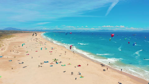 Aerial view of kitesurfing extreme sport with the wind freestyle. Beautiful top Live Action