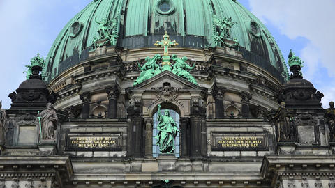 Architectural fragment of the Cathedral in Berlin. 4K Live Action