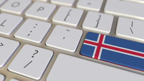 Key with flag of Iceland on the computer keyboard switches to key with flag of Live Action