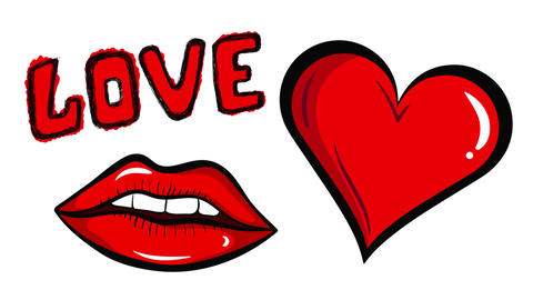 Lips and heart on white back Animation