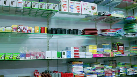 Back to school concept. Purchase of stationery in the store preparing for first day in school Footage