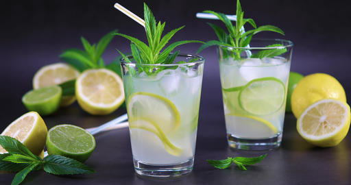 Fresh lemonade with mint in glass Footage
