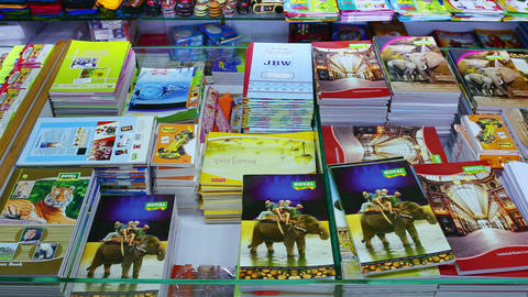Back to school concept. Purchase of stationery in the store. notebook, dolly shot Live Action