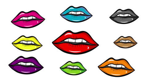 Colorful lips on white isolate Animation