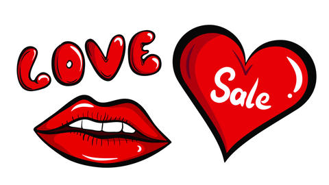 Lips and sale heart white Animation