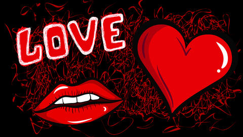 Lips and heart with love black Animation
