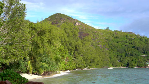 Seychelles. Praslin Island. Beautiful view of the hilly coast of an exotic Footage