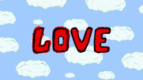Lips, heart and love on cloud Animation