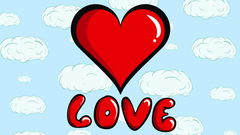 Love and heart beat with clouds Animation