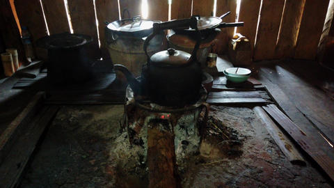 Tea Pot Boiling Water on Wood Fire Footage