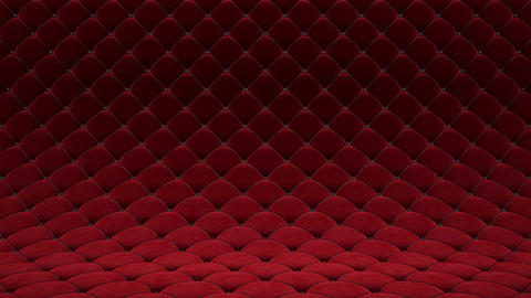 3D motion animation of red quilted velvet surface with black leather straps. Realistic animation of Animation