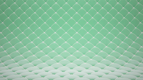 3D motion animation of light green quilted velvet surface with white leather straps. Realistic Animation