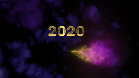 Magical sparkling particles. Appearing golden number 2020 Footage