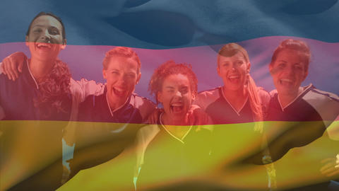 German female football players having fun with a German flag floating on the foreground Animation