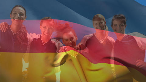 German female football players having fun with a German… Stock Video Footage