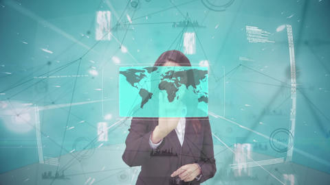 Digital composite of business woman touching futuristic screen Animation