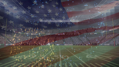 American football stadium with fireworks animation and american flag on the foreground Animation