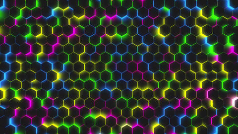 Glow color polygon background 4K Animation