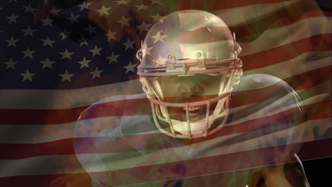 American football player waiting with fire animation and american flag on the background Animation