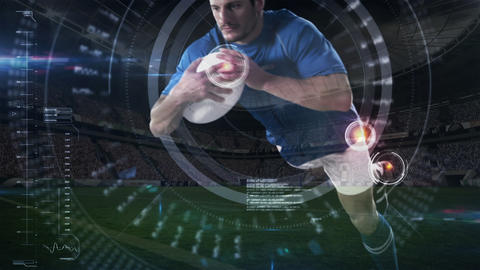 Rugby player diving to score in stadium Animation