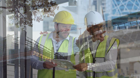 Male construction workers holding blueprints Animation