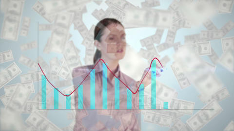 Businesswoman drawing combo chart on glass screen with banknotes moving Animation