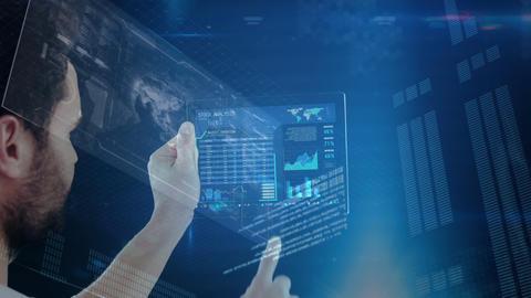 Business man touching futuristic screen Animation
