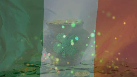 Gold coins falling down on vase with Irish flag waving on the foreground Animation
