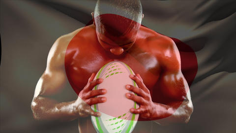 Shirtless male rugby player holding ball and screaming Animation