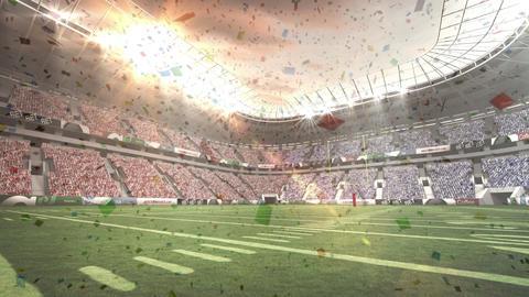 Digital confetti falling against a stadium full of fans background Animation