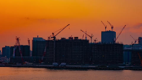 A time lapse of moving cranes at the bay area in Tokyo at dusk wide shot Live Action