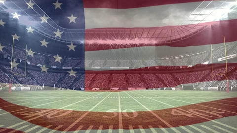American flag waving in a full stadium background Animation