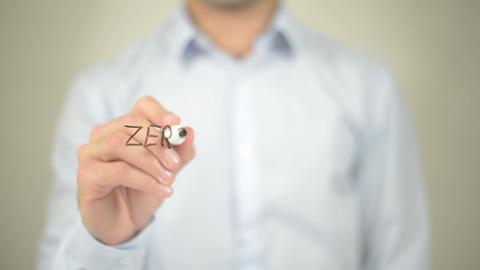 Zero Tolerance , man writing on transparent screen Footage