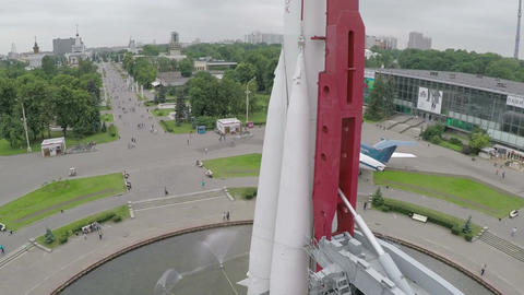 Aerial view of Vostok Rocket at All-Russia Exhibition Centre Footage