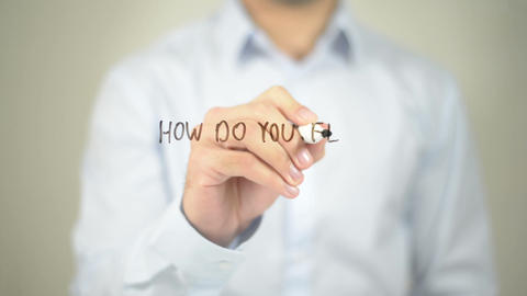 How Do You Feel About Your Job ? , man writing on transparent screen Footage