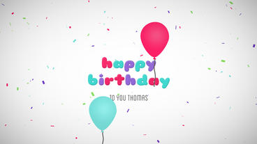 Happy Birthday Wishes Message Balloons Particles Logo Text Reveal Animation After Effects Template