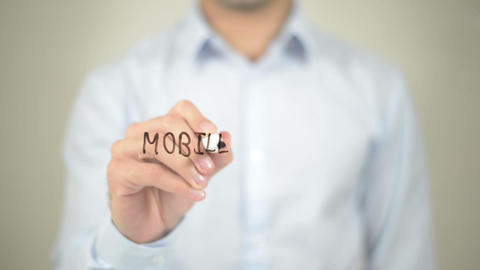Mobile Marketing, man writing on transparent screen Footage