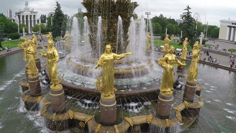Friendship of Nations Fountain in Moscow, aerial view Footage