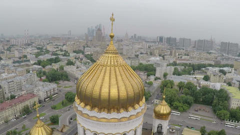 Cathedral of Christ the Saviour in Moscow, aerial view Footage