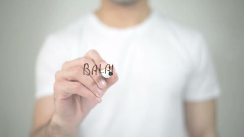 Balance Diet, man writing on transparent screen Footage