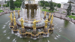 Flying over Friendship of Nations Fountain in Moscow Footage