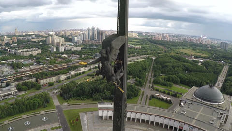 Aerial shot of Victory Monument on Poklonnaya Hill, Moscow Footage