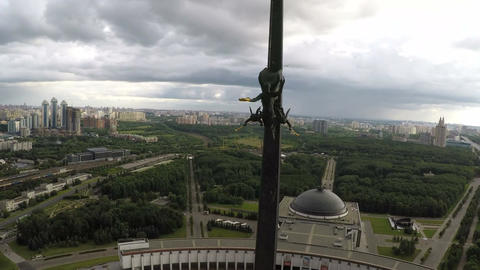 Victory Monument on Poklonnaya Hill, Moscow. Aerial view Footage