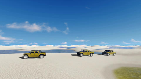 Off-road vehicles ride in Brazil desert Footage