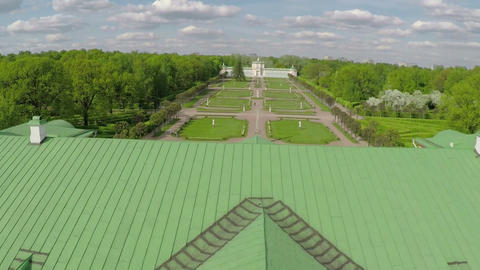 Aerial shot of architecture museum and park Tsaritsyno, Moscow Footage